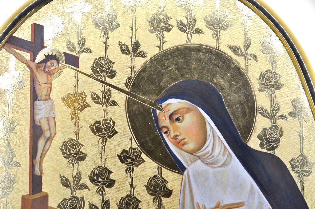 św Rita - otrzymanie stygmatu, fragment obrazu
